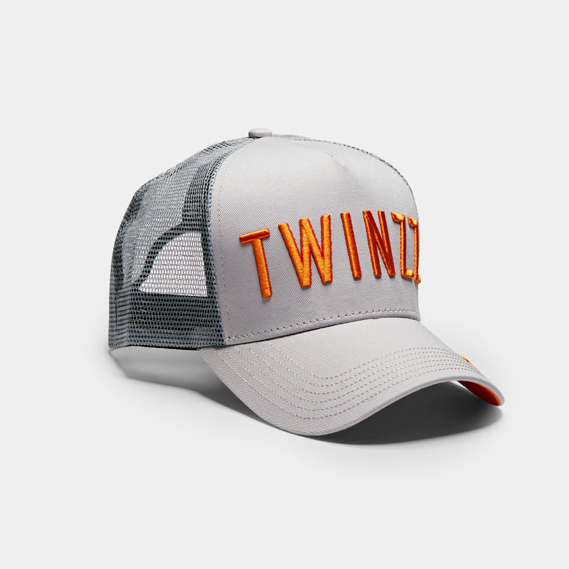 3D Mesh Back Trucker - Grey/ Orange