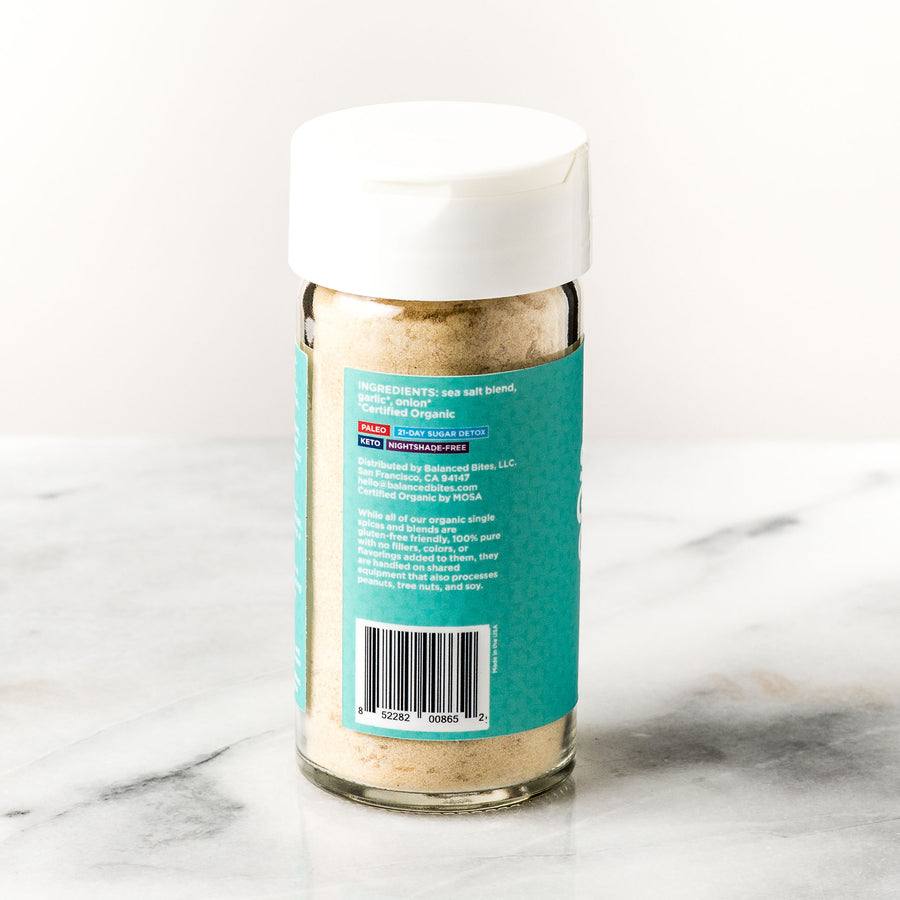 SUPER GARLIC ONION infused salt | Balanced Bites Wholesome Foods