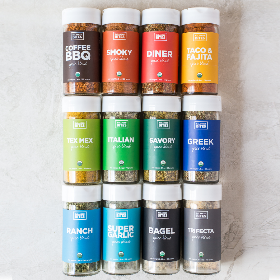 Spice Rack Pack of 12 jars | Balanced Bites Organic Spices