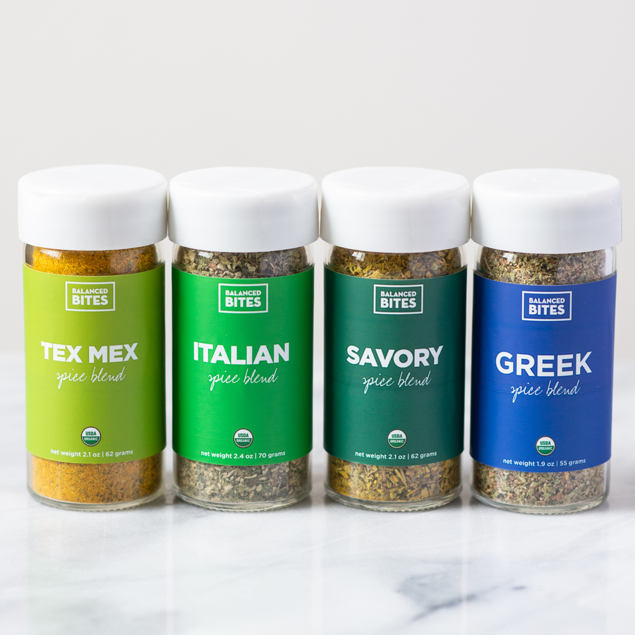 The Around the World Spice Pack by Balanced Bites Spices includes Tex Mex, Italian, Savory, and Greek spice blends.