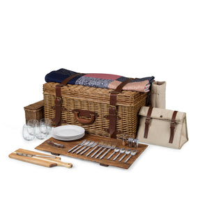 Gatsby Premium Picnic Basket Complete 30-Piece Dining Set