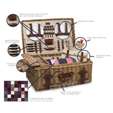 Load image into Gallery viewer, Gatsby Premium Picnic Basket Complete 30-Piece Dining Set