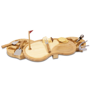 Golf Sand Trap Cheese Board Set with 6 Tools for Cheese and Wine