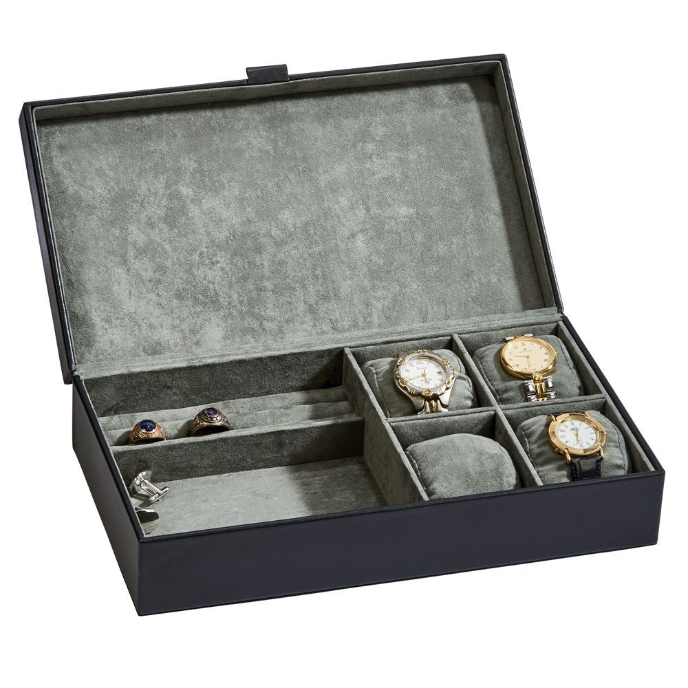 Men's bedside box for watches, jewelry, wallet, cards. Personalize for you main man.