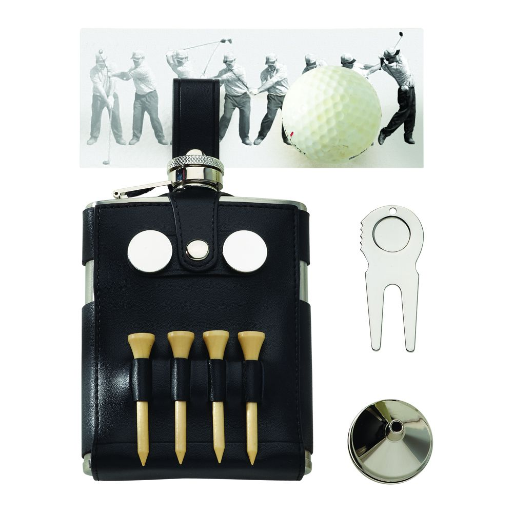 Golfer's Flask Multi-Tool - Leather Wrapped with Golf Tee's, Markers + Divot Tool