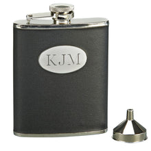 Load image into Gallery viewer, Leather-Wrapped Flask with Funnel. Custom Engraving Available. Black or Brown