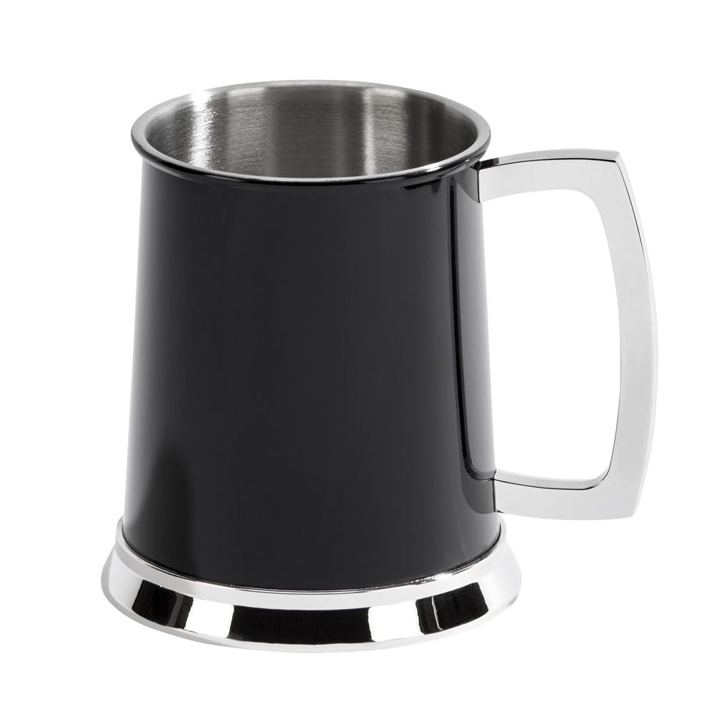Bright & Black, 2-Tone Beer Tankard Mug. Custom Engraving Available.