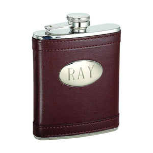Leather-Wrapped Flask with Funnel. Custom Engraving Available. Black or Brown