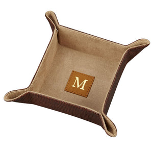 Snap Tray Organizer - Brown Leatherette. Custom Monogram Available