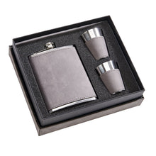 Load image into Gallery viewer, Leather Flask Gift Set with 2 Shot Glasses - Grey. Custom Laser Engraving Available