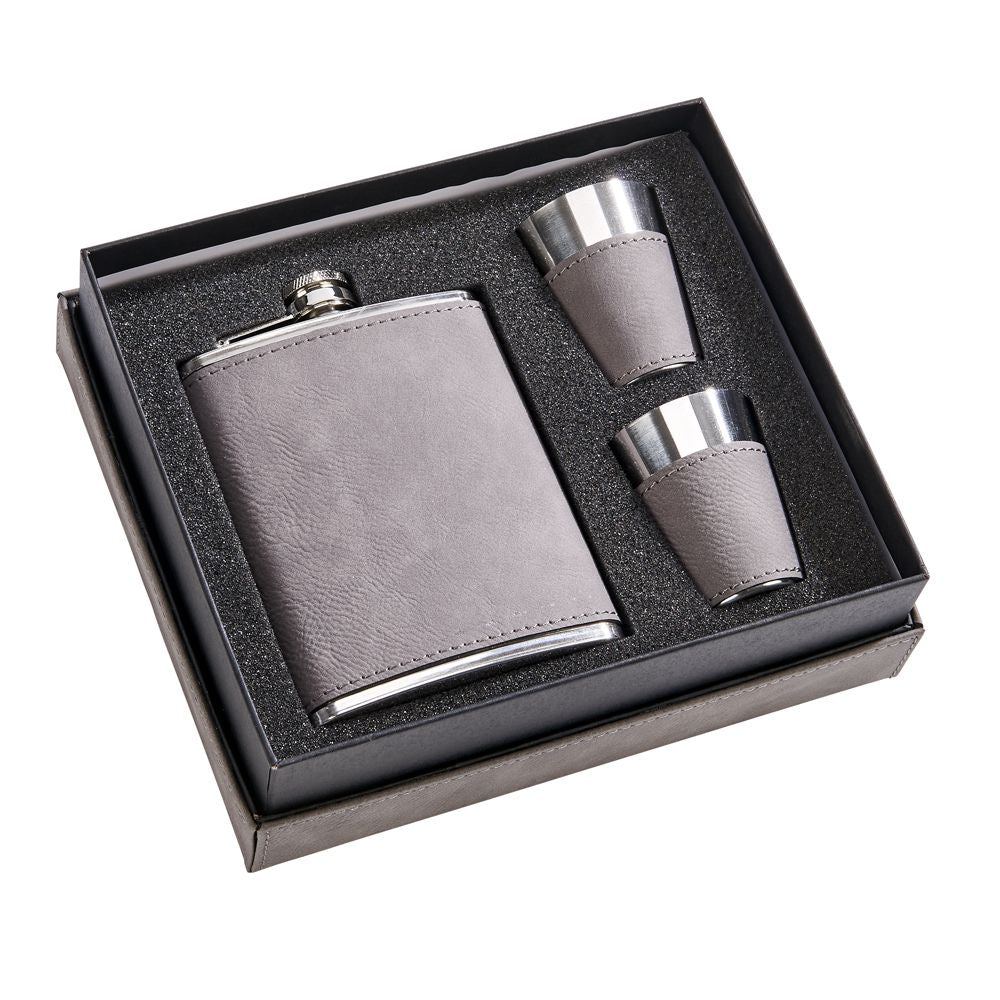 Leather Flask Gift Set with 2 Shot Glasses - Grey. Custom Laser Engraving Available