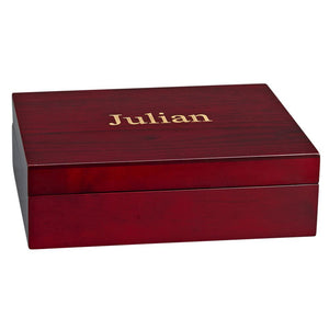 Rosewood Box with Dark Green Lining. Great for Accessories, Jewelry, Golf Balls etc. Custom Name or Monogram