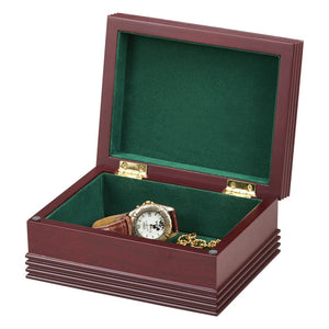 Rosewood Box with Forest Green Lining. Great for Jewelry, Watches, Wallets and other Accessories, Custom Name or Monogram