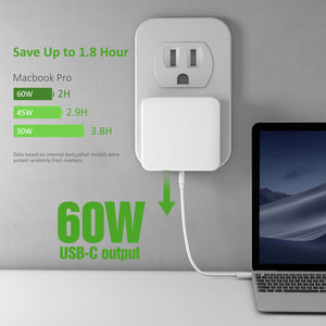 MacBook Pro Charger, Nekmit 61W USB-C Space Saving Power Delivery Fast Wall Charger PD 3.0 for MacBook Pro/Air