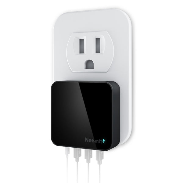 42W 4-Port USB-C Wall Charger, Black