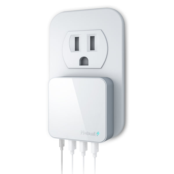 42W 4-Port USB-C Wall Charger, White