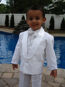 5-Piece White Baby & Toddler Boys Tuxedo