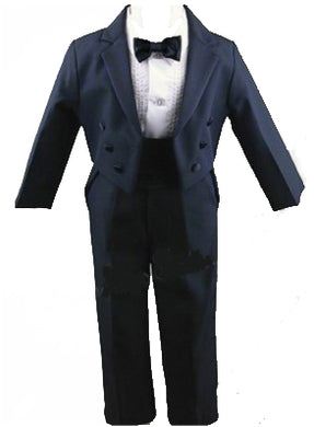 5 Piece Black Round Split Tail Tuxedo by LITO