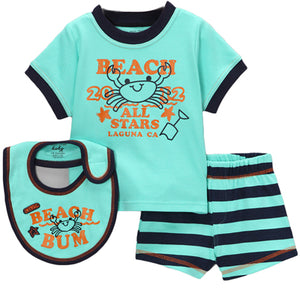 Aqua 'Beach Bum' Shorts Set