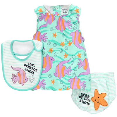 Aqua Fish Dress with Bib Set