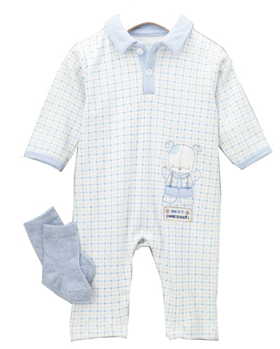 Blue Puppy Playsuit with Socks Set