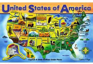 Classic Wooden USA Map Puzzle