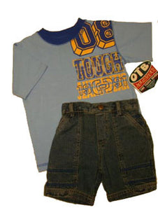 """OTB"" Brand Shorts Set Blue"