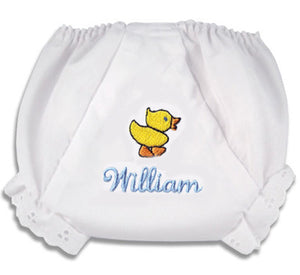 "Embroidered Duck ""Fancy Pants"" Diaper Cover"
