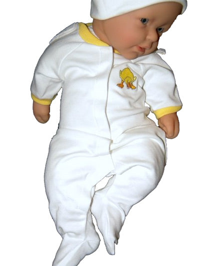 Embroidered White Preemie Coverall