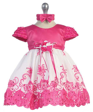 Fuchsia Ruffle Embroidered Dress & Headband