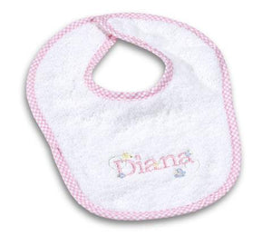 Girl's Personalized Gingham Bib