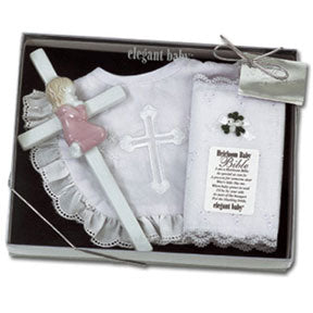 Girl's Christening Bib, Bible & Cross Gift Set