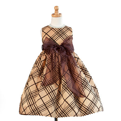 Girls Gold Sleeveless Flocked Tulle Dress