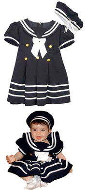 Girls Navy Nautical Sailor Dress