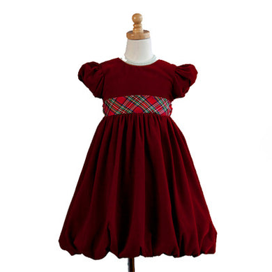 Girls Red Velvet Holiday Dress