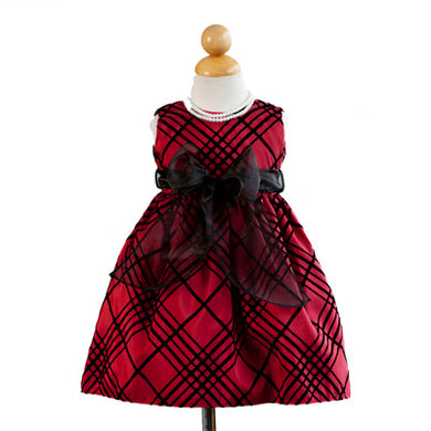 Girls Red Sleeveless Flocked Tulle Dress