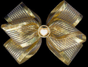 Gold Sheer Sparkly Hair Bow