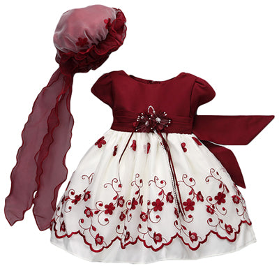 Holiday Special Occasion Burgundy Embroidered dress