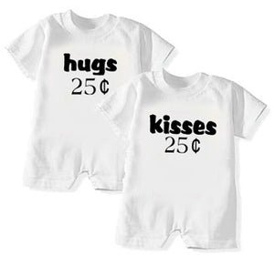 Hugs & Kisses T-Rompers for Twins or Siblings