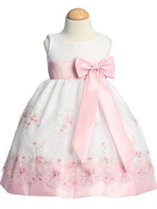 LITO Pink Embroidered Organza Dress
