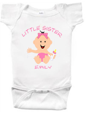 Little Sister Personalized Character Creeper or Tee-Shirt