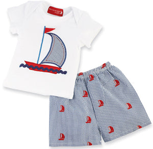 Mud Pie Boat House Sailboat Short Set