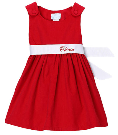 Personalized Red & White Sash Corduroy Dress