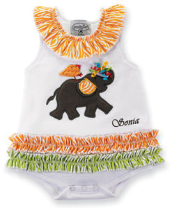 Personalized Baby Safari Elephant All-In-One Dress