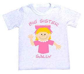 Personalized Character Big Sister Tee Shirt