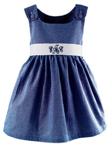 Personalized Navy Gingham Dress