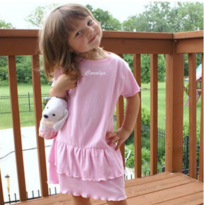 Personalized Pink Ruffled Toddler Dress