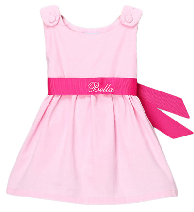 Personalized Pique Dress Hot Pink Sash