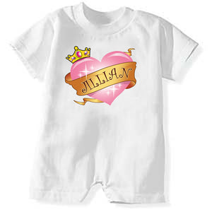 Personalized Princess Heart Romper