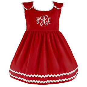 Monogrammed Red Berry Corduroy Dress